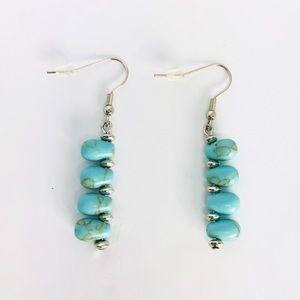 New!Native American Turquoise Linear Drop Earrings
